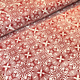 Block Print Fabric LENA Red - Starting Price per 0.5 Meter US 8.80