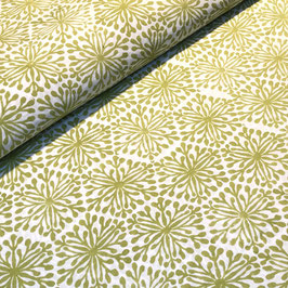 Block Print Fabric ELENA Yellow-Green  - Starting Price per 0.5 Meter US 8.80