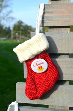 Chaussette de Noël et son badge personnalisé 33 mm