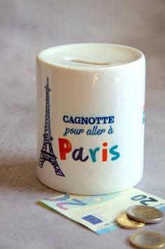 """Tirelire personnalisée """"Cagnotte pour Paris"""""""