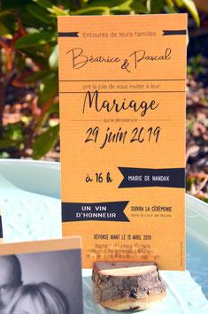 """Faire-part de mariage 10 x 20 cm : modèle """"Kraft"""""""