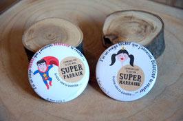 """Pour Parrain ou Marraine (diamètre 56 mm) // """"supers héros ..."""" à GRATTER !"""
