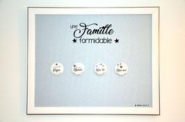 """Tableau magnétique/porte-photos avec 4 magnets """"Famille formidable"""""""
