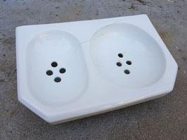 Ancien porte savon double en porcelaine pour salle de bain