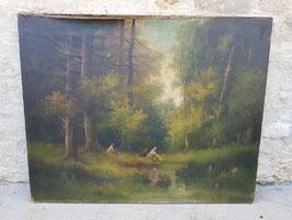 Ancienne huile sur toile XIXeme Lavandières dans un sous bois école française