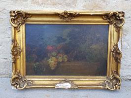 Ancienne huile sur toile XIXeme Nature morte aux raisins école française