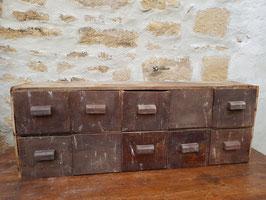 Ancien meuble de métier en bois 10 tiroirs d'épicerie