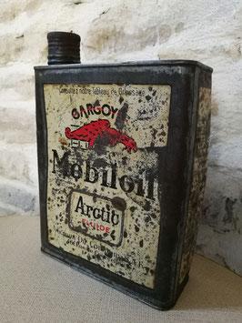 Ancien bidon d'huile MOBILOIL circa 1950