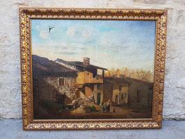 Ancienne huile sur toile XIXeme Cour de ferme école française
