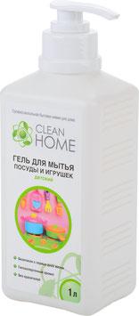 CLEAN HOME Гель для мытья детской посуды и игрушек с дозатором 1л.