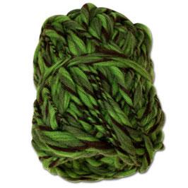 Handgesponnenes Strickgarn grün-braun