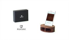 iPhone用木製無電源スピーカー「MUKUNE」