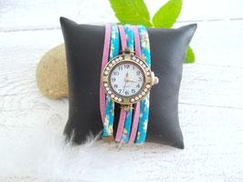 Montre rétro avec strass turquoise et lilas