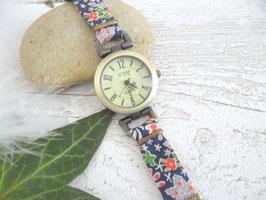Montre bracelet marine fleurs colorées
