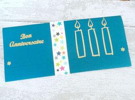Pochette cadeau bleu canard sticker anniversaire