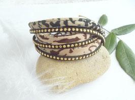 Bracelet manchette Fauve...noir effet doré/bronze