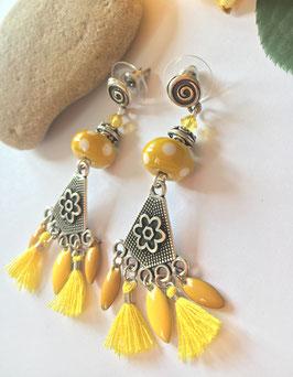 Boucles d'oreilles perle jaune Armel