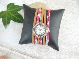 Montre bracelet effet manchette bronze paillette et strass