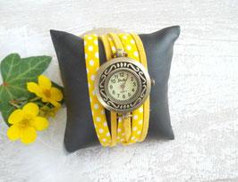 Montre bracelet effet manchette jaune soleil