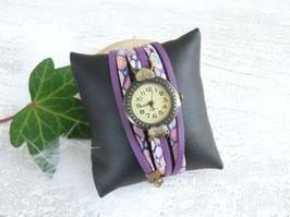Montre manchette violet - cadran coeur
