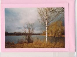 Seelenfaltkarte mit Kuvert Titel: Birke am See
