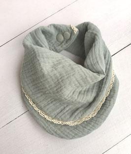 Doppeltes Dreieckstuch für Babies aus Musselinstoff zweiseitig tragbar in zartem Mint