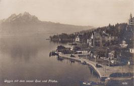 Postkarte Weggis mit neuem Quai und Pilatus