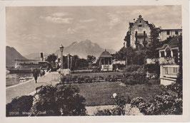 Postkarte Weggis Quai mit Pilatus