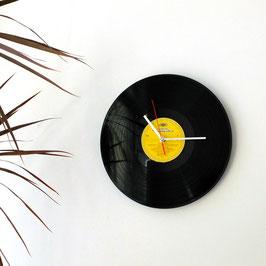 Schallplatten Wanduhr gelb
