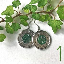 Abschlussring Ohrringe mit Leiterplatte grün