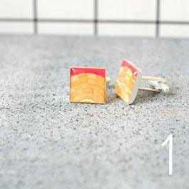 Leiterplatte Manschettenknöpfe eckig gold - rot