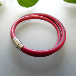 Bunte Kabel Doppelarmband  magenta