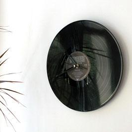 Schallplatten Wanduhr braun