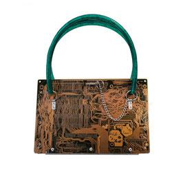 Leiterplatten Handtasche gelb/schwarz/grün
