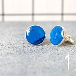 Leiterplatte Manschettenknöpfe rund blau
