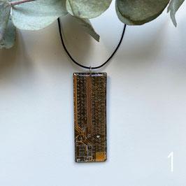 Leiterplatten Halskette mit Resin senf/braun 2