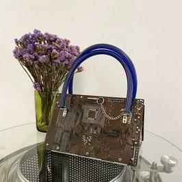 Leiterplatten Handtasche braun/blau