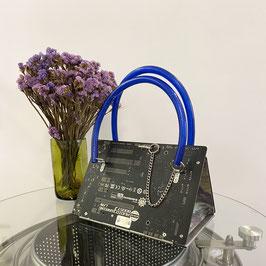 Leiterplatten Handtasche schwarz/blau