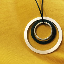 3 Distanzringe Halskette schwarz-silber