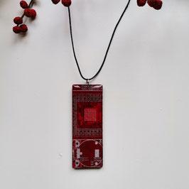 Leiterplatten Halskette mit Resin rot 1