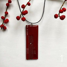 Leiterplatten Halskette mit Resin rot 2
