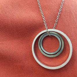 3 Distanzringe Halskette silber