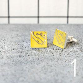 Leiterplatte Manschettenknöpfe eckig gelb