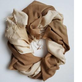 Flauschiger Kaschmir-, Pashmina-Schal im XL-Format, Farbverlauf quer, camel - lightgold