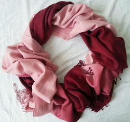 Flauschiger Kaschmir-, Pashmina-Schal im XL-Format, Farbverlauf, rosé - dunkelrot