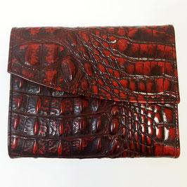 Designer Geldbörse classic von déqua, geprägtes Leder, Kroko, déqua, rot -schwarz