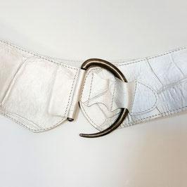 Gürtel mit Schlank-Effekt, Halbmond-Schließe, déqua, geprägtes Leder, Kroko, irisierend perlmutt
