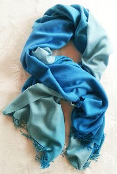 Flauschiger Kaschmir-, Pashmina-Schal im XL-Format, Farbverlauf, helles Blau