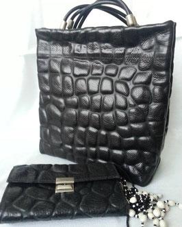 déqua - Handtasche, zum Umhängen, erhaben geprägtes Rindsleder, Kroko -Optik, schwarz