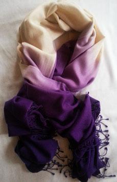 Flauschiger Kaschmir-, Pashmina-Schal im XL-Format, Farbverlauf längs, lila/ violett -offwhite